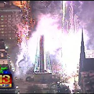 Washington Monument Lights Up Baltimore For The Holidays