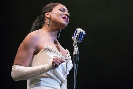 """File photo of McDonald performing as Billie Holiday in the production of """"Lady Day at Emerson's Bar and Grill"""" in New York"""