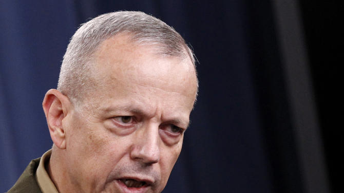 FILE - In this May 23, 2012 file photo, Marine Gen. John R. Allen, commander of the International Security Assistance Force speaks during a news conference at the Pentagon. The rising number of attacks on U.S. troops by Afghan police and soldiers may be due in part to the stress on Afghan forces from fasting during the just-concluded Muslim holy month of Ramadan, the top U.S. commander in Afghanistan said Thursday.   (AP Photo/Haraz N. Ghanbari, File)