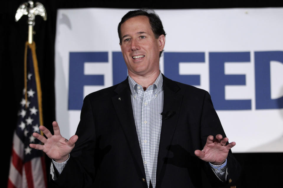 Republican presidential candidate, former Pennsylvania Sen. Rick Santorum speaks in Shawano, Wis., Monday, April 2, 2012. (AP Photo/Jae C. Hong)