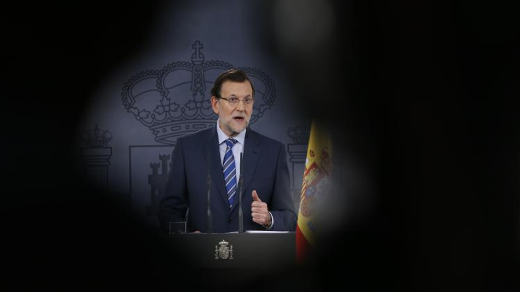 Spain's PM Rajoy speaks during a news conference at Madrid's Moncloa Palace