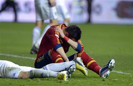 Spain's Alvaro Negredo Sanchez reacts during their 2014 World Cup qualifying match in Gijon