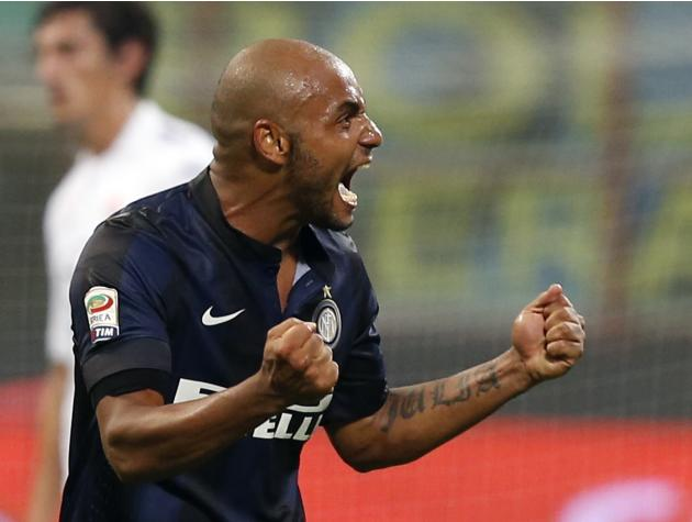 Inter Milan's Jonathan celebrates after scoring against Fiorentina during their Italian Serie A soccer match at the San Siro stadium in Milan