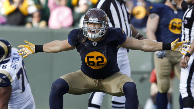 Green Bay Packers outside linebacker Clay Matthews (52) reacts after a sack against the St. Louis Rams during the second half of an NFL football game Sunday, Oct. 16, 2011, in Green Bay, Wis. The Packers won 24-3. (AP Photo/Jeffrey Phelps)