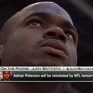 Minnesota Vikings running back Adrian Peterson to be reinstated Friday
