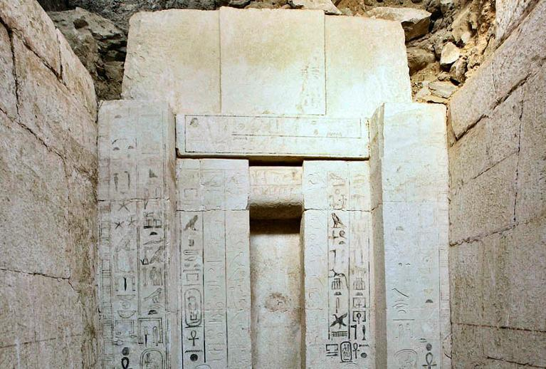 A picture taken on October 22, 2013 shows Egyptian hieroglyphics on a 4,000 year old tomb which was discovered by archaeologists in Abusir on the outskirts of the Egyptian capital, Cairo