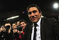 Juventus coach Antonio Conte celebrates at the end of their Italian Serie A match against Cagliari at Nereo Rocco stadium in Trieste. Conte graciously side-stepped controversial talk about the number of titles Juventus have won after guiding his side to the scudetto crown with a 2-0 win over Cagliari on Sunday