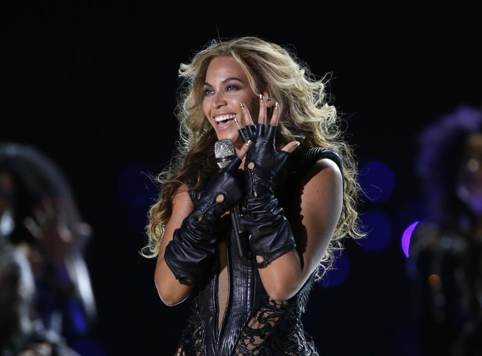 "FILE - In this Feb. 3, 2013 file photo, Beyonce performs during the Pepsi Super Bowl XLVII Halftime Show football game between the San Francisco 49ers and the Baltimore Ravens, in New Orleans. Beyonce stopped short of apologizing for using a sample of audio from the Space Shuttle Challenger explosion in a statement released on Tuesday, Dec. 31, 2013, to ABC. The pop superstar explained the use of the short snippet at the beginning of her song ""XO"" from her new self-titled album after it brought criticism from the wife of the commander at the helm of the Challenger when it exploded in 1986 and others. (AP Photo/Mark Humphrey, File)"