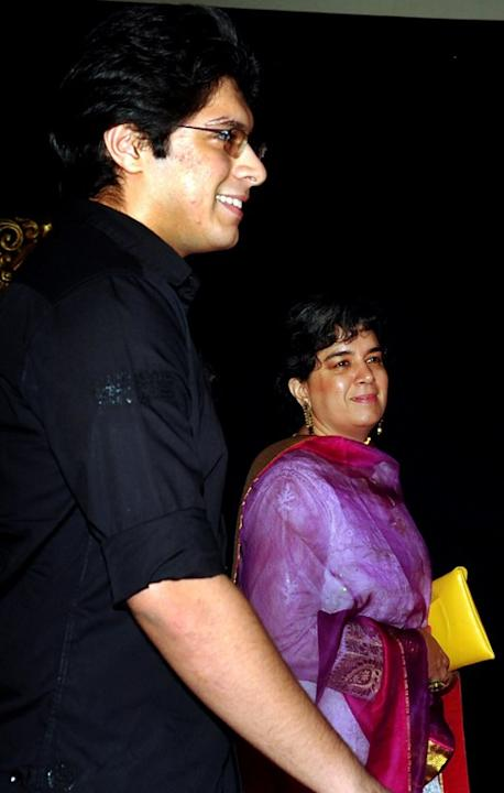 Indian Bollywood film actor Aamir Khan's former wife Reena Dutta (R) and her son Junaid Khan pose on the red carpet at the premiere of the Hindi film 'Jab Tak Hai Jaan' in Mumbai on November 12, 2012.