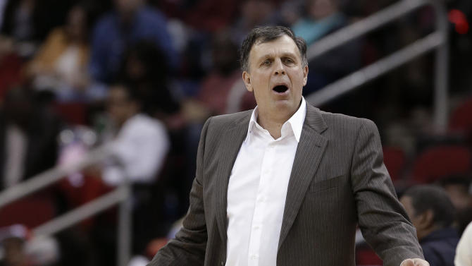 Houston Rockets coach Kevin McHale questions a call during the first half of his team's NBA basketball game against the Brooklyn Nets on Friday, Feb. 27, 2015, in Houston. (AP Photo/Pat Sullivan)