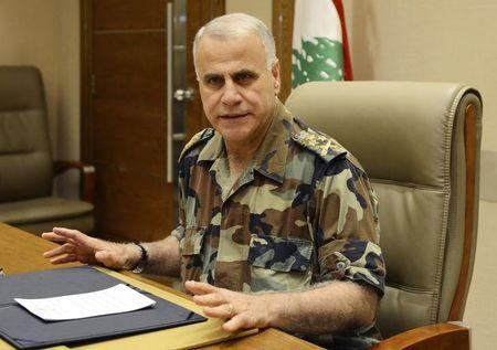 Lebanon's army chief General Jean Kahwaji talks during a news conference in Beirut