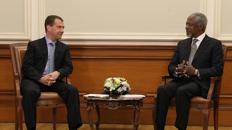 "Russian President Dmitry Medvedev seen during his talks with U.N. and Arab League envoy to Syria Kofi Annan during their meeting in Moscow, Sunday, March 25, 2012. Russian President Dmitry Medvedev has told the U.N. and Arab League envoy to Syria that his mission ""may be the last chance for Syria to avoid a protracted bloody civil war."" Medvedev also told Kofi Annan that he has Russia's full support. (AP Photo/AP Photo/RIA Novosti Kremlin, Ekaterina Shtukina, Presidential Press Service)"