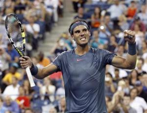 Rafael Nadal of Spain celebrates defeating Philipp Kohlschreiber of Germany at the U.S. Open tennis championships in New York