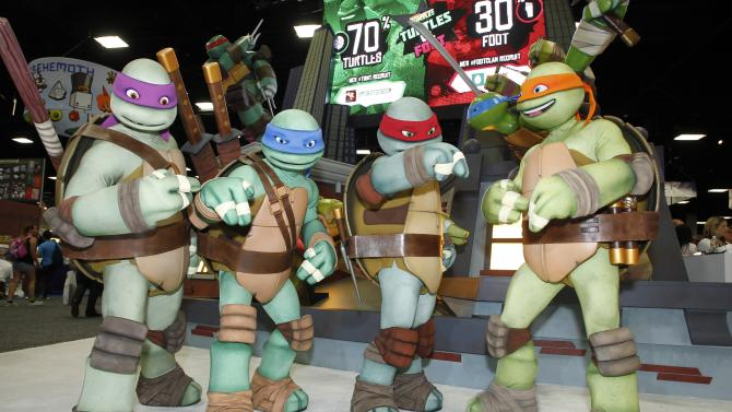 COMMERCIAL IMAGE - Teenage mutant ninja turtles attends Nickelodeon at Comic-Con on Wednesday, July 12, 2012, in San Diego, Calif. (Photo by Joe Kohen/Invision for Nickelodeon/AP Images)