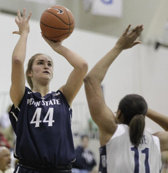 Penn State's Tori Waldner (44) shoots over Georgetown's Andrea White (11) during the first half of an NCAA college basketball game on Sunday, Dec. 8, 2013, in Washington