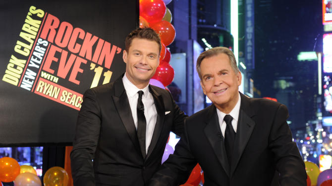 """In this image released by ABC,  Dick Clark, right, and Ryan Seacrest are shown in New York. Clark and Seacrest will celebrate 40 years of history as they host """"Dick Clark's New Year's Rockin' Eve with Ryan Seacrest 2012"""" live from ABC Studios in New York on Saturday, Dec. 31, 2011 on the ABC Television Network.  (AP Photo/ABC, Ida Mae Astute)"""