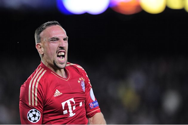 Bayern Munich's Franck Ribery celebrates during the Champions League semi-final in Barcelona on May 1, 2013