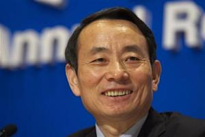 Chairman of PetroChina Jiang Jiemin releases the company's annual results at a news conference in Hong Kong