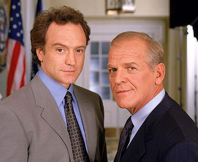 "Bradley Whitford as Josh Lyman and John Spencer as Leo McGarry on NBC's ""The West Wing"" West Wing"