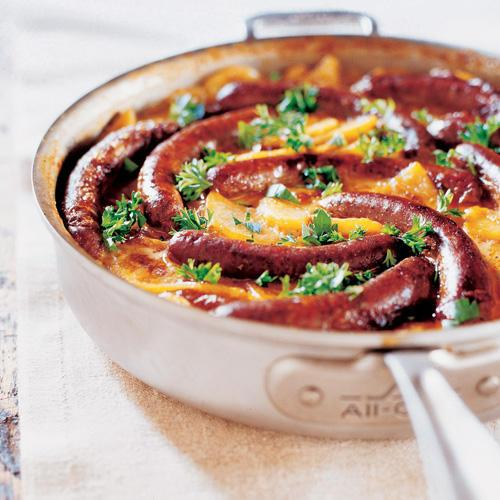 Merguez Sausages with Scalloped Potatoes