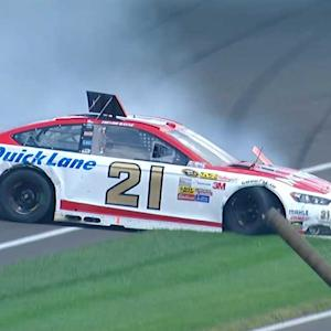 Flat tire sends Bayne into guardrail