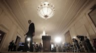 President Barack Obama walks away from the podium after speaking on the Internal Revenue Service's targeting of conservative groups for extra tax scrutiny in the East Room of the White House in Washington, Wednesday May 15, 2013. Obama announced the resignation of Acting IRS Commissioner Steven Miller, the top official at the IRS. (AP Photo/Pablo Martinez Monsivais)