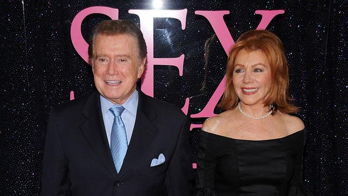 "Regis Philbin and Joy Philbin attend the premiere of ""Sex and the City: The Movie"" at Radio City Music Hall on May 27, 2008 in New York City."