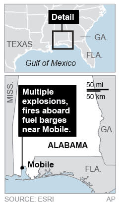 Locates fuel barge explosions near Mobile, Ala.