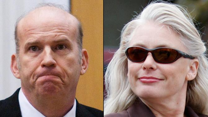 FILE - This combination of undated file photos shows Scott Roeder, left, and Angel Dillard. The lawsuit against Dillard, who publicly proclaimed her admiration for Roeder, convicted of gunning down late-term abortion provider Dr. George Tiller, is revealing the unwavering support a small group of radical anti-abortion activists has for the imprisoned killer despite an ongoing federal investigation into the 2009 slaying. Though no federal indictments have been handed down by a grand jury investigating Tiller's death, the lawsuit against Dillard who sent a threatening letter in 2011 to another Wichita doctor who was training to offer abortions is one indication the Justice Department is taking a more heavy handed approach to perceived threats to abortion providers. (AP Photo/File)