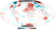 November 2012 temperatures relative to average across the globe