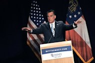 Candidato republicano Mitt Romney em campanha em Atlanta.
