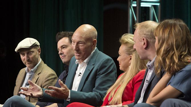 "Actor Patrick Stewart participates in the Starz ""Blunt Talk"" panel at the Television Critics Association (TCA) Summer 2015 Press Tour"