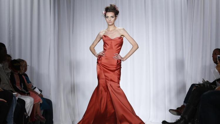 The Zac Posen 2014 collection is modeled during Fashion Week in New York, Sunday, Sept. 8, 2013. (AP Photo/John Minchillo)