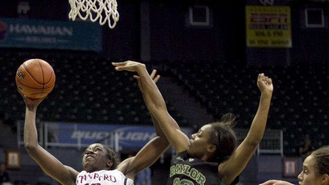 Stanford forward Chiney Ogwumike (13) shoots around Baylor forward Brooklyn Pope (32) and Brittney Griner, right, during the second half of an NCAA college basketball game Friday, Nov. 16, 2012 in Honolulu.  (AP Photo/Marco Garcia)