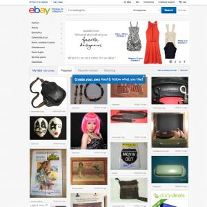 """This screenshot made Oct. 10, 2012, shows EBay's redesigned website meant to encourage visitors to browse and collect items they might want to buy later with something it calls the """"feed.""""  The feature, reminiscent of popular sites like image-heavy Pinterest, shows users items based on things they purchased in the past or items they've clicked on the site. Shoppers can also edit their feed by adding or removing categories and individual items.  (AP Photo/Ebay)"""
