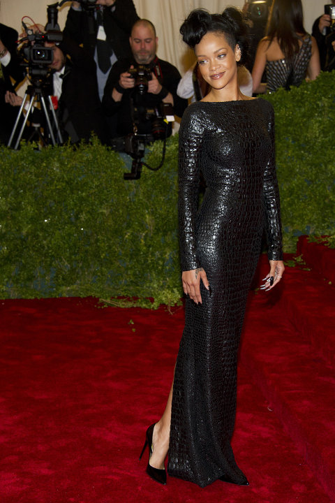 Rihanna arrives at the Metropolitan Museum of Art Costume Institute gala benefit, celebrating Elsa Schiaparelli and Miuccia Prada, Monday, May 7, 2012 in New York. (AP Photo/Charles Sykes)
