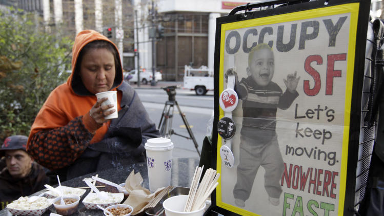 Occupy  San Francisco demonstrator gets a free drink during a rally in San Francisco, Wednesday, Dec. 7, 2011 near the encampment that was closed by authorities earlier in the day. (AP Photo/Paul Sakuma)