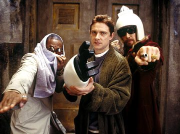 Mos Def as Ford Prefect, Martin Freeman as Arthur Dent and Sam Rockwell as Zaphod Beeblebrox in Touchstone Pictures' The Hitchhiker's Guide to the Galaxy