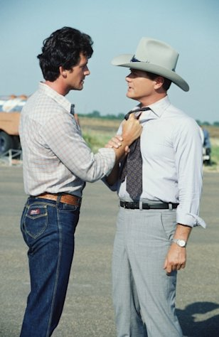 Patrick Duffy and Larry Hagman film &#39;Dallas,&#39; 1980 -- Getty Images