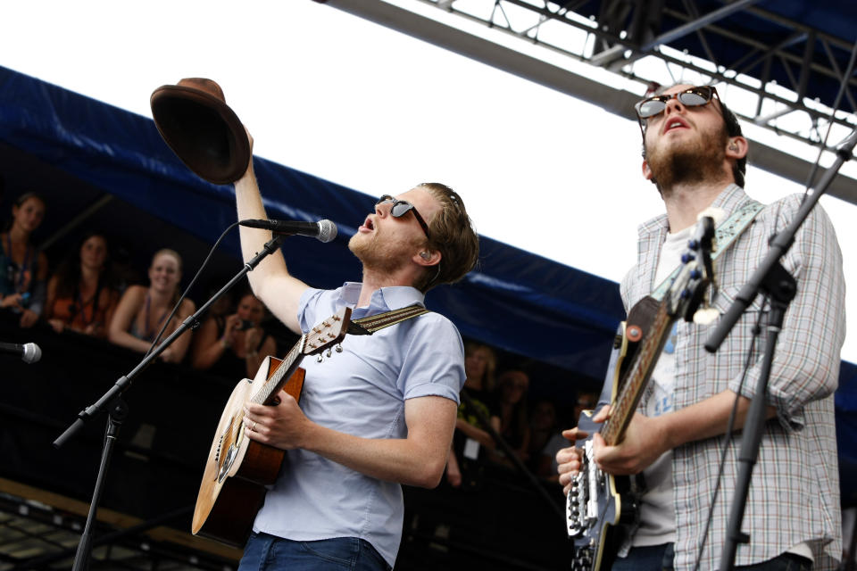 Wesley Schultz, left, and Ben Wahamaki, bass, of The Lumineers perform at the 54th edition of the Newport Folk Festival in Newport, R.I., on Sunday, July 28, 2013. (AP Photo/Joe Giblin)