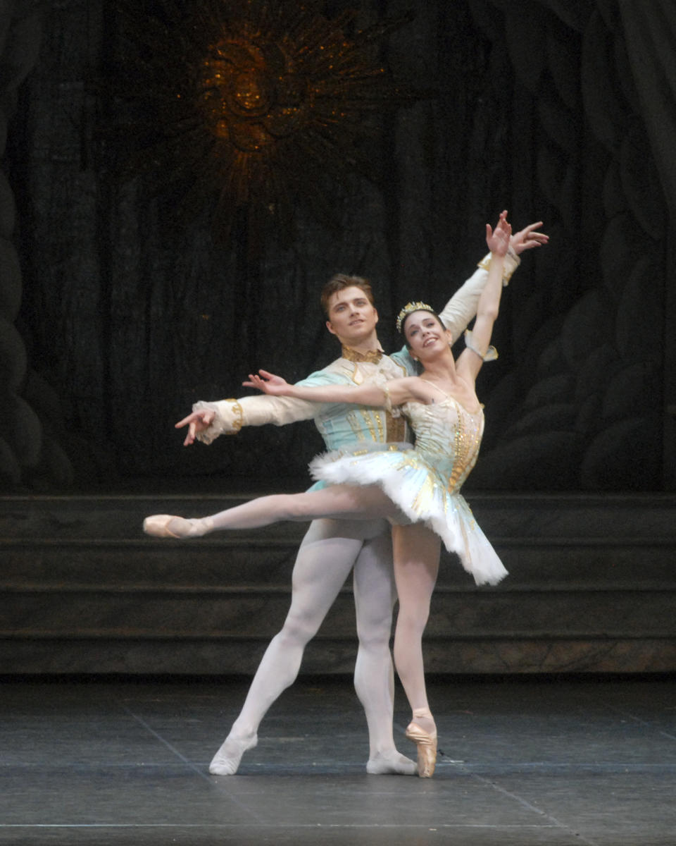 "In this undated photo provided by American Ballet Theater, Alban Lendorf and Xiomara Reyes perform in ""The Sleeping Beauty,"" which will be performed by the American Ballet Theater at the Metropolitan Opera House in New York. (AP Photo/American Ballet Theater, MIRA)"