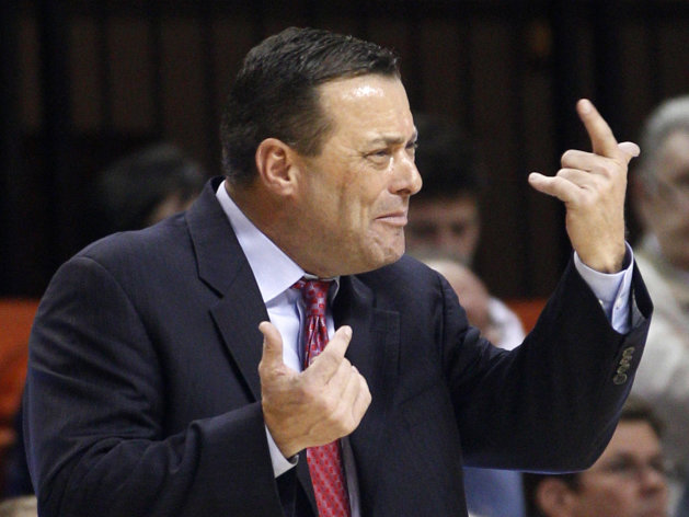FILE - In this Jan. 4, 2012, file photo, Texas Tech coach Billy Gillispie gestures during the second an NCAA college basketball game against Oklahoma State in Stillwater, Okla. Gillispie has resigned, due to health reasons. The school announced the move on Thursday, Sept. 20, 2012. Gillispie&#39;s departure comes less than a month after Texas Tech said it was looking into allegations of player mistreatment by the veteran coach and that it had reported practice-time violations to the NCAA. (AP Photo/Sue Ogrocki, File)