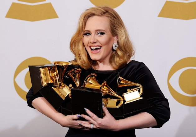 Singer Adele, winner of the GRAMMYs for Record of the Year for &quot;Rolling In The Deep&quot;, Album of the Year for &quot;21&quot;, Song of the Year for &quot;Rolling In The Deep&quot;, Best Pop Solo Performance for &quot;Someone Like You&quot;, Best Pop Vocal Album for &quot;21&quot; and Best Short Form Music Video for &quot;Rolling In The Deep&quot;, poses in the press room at the 54th Annual GRAMMY Awards at Staples Center on February 12, 2012 in Los Angeles, California.  (Photo by Kevork Djansezian/Getty Images)
