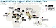 Map showing coutries where US embassies have faced protests over an anti-Islam film and security has been tightened