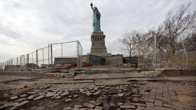 Parts of the brick walkway of Liberty Island that were damaged in Superstorm Sandy were shown during a tour, in New York,  Friday, Nov. 30, 2012. Tourists in New York will miss out for a while on one of the hallmarks of a visit to New York, seeing the Statue of Liberty up close. Though the statue itself survived Superstorm Sandy intact, damage to buildings and Liberty Island's power and heating systems means the island will remain closed for now, and authorities don't have an estimate on when it will reopen. (AP Photo/Richard Drew)