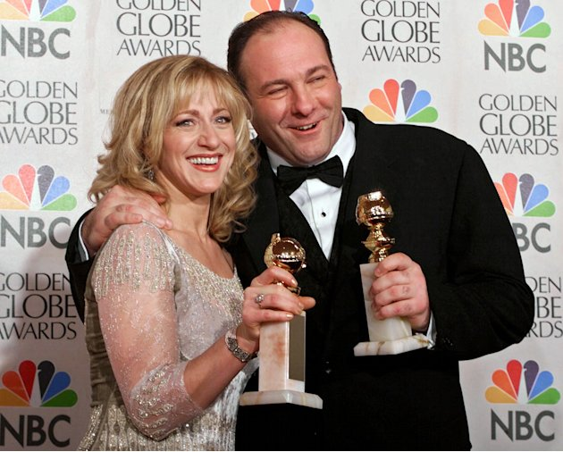 "FILE - This Jan. 23, 2000 file photo shows actors Edie Falco, left, and James Gandolfini with their awards for best performance by an actress and actor in a dramatic televison series for ""The Sopranos"
