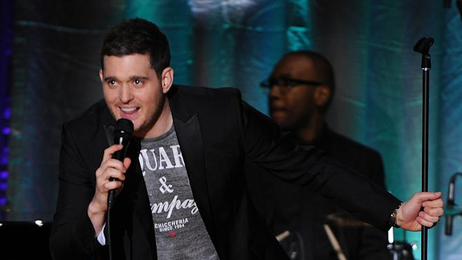 """Singer Michael Buble performs at the Academy of Television Arts & Sciences Presents """"An Evening With Michael Buble"""" at the Wadsworth Theatre on Sunday, April 28, 2013 in Los Angeles, California. (Photo by Frank Micelotta/Invision for the Academy of Television Arts & Sciences/AP Images)"""
