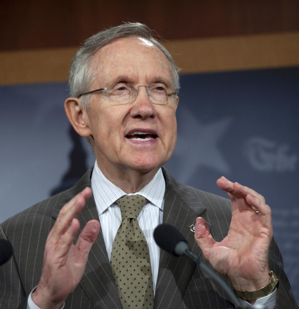 Senate Majority Leader Harry Reid of Nev. gestures during a news conference on Capitol Hill in Washington on Thursday, Sept. 22, 2011, to discuss FEMA funding and the Continuing Resolution to fund the government. (AP Photo/Harry Hamburg)