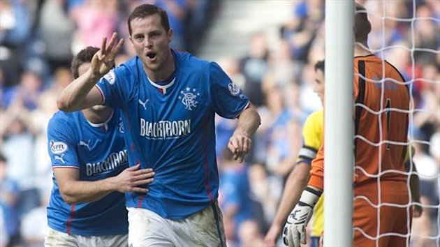 Jon Daly celebrates netting his third goal