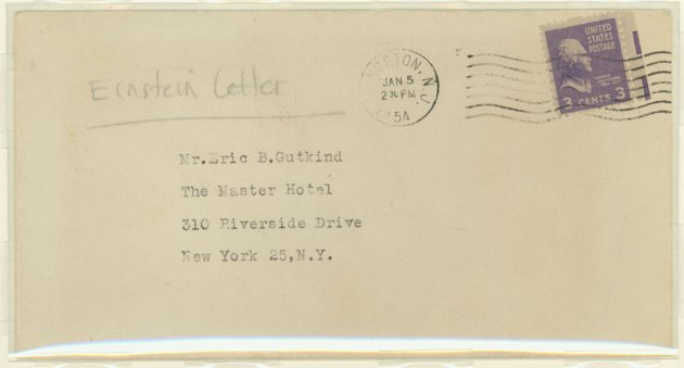 The envelope which contained a letter handwritten by physicist Albert Einstein to philosopher Erik Gutkind is seen in an undated handout photo. A letter handwritten by physicist Albert Einstein a year before his death, expressing his views on religion, will be sold on eBay this month with an opening bid of $3 million, auction agency Auction Cause said on October 2, 2012.  REUTERS/Golan Weiser/Handout   (UNITED STATES - Tags: SOCIETY EDUCATION RELIGION) NO SALES. NO ARCHIVES. FOR EDITORIAL USE ONLY. NOT FOR SALE FOR MARKETING OR ADVERTISING CAMPAIGNS. THIS IMAGE HAS BEEN SUPPLIED BY A THIRD PARTY. IT IS DISTRIBUTED, EXACTLY AS RECEIVED BY REUTERS, AS A SERVICE TO CLIENTS